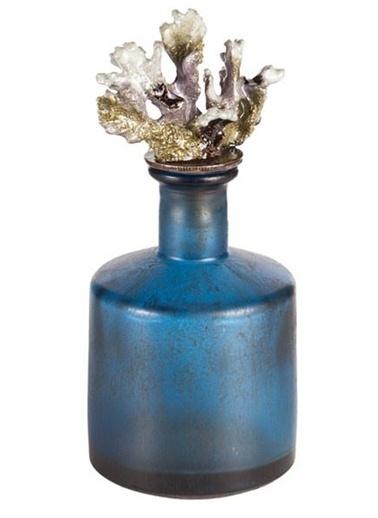 Warm Design Eskitme Mercanlı Cam Şişe Mavi